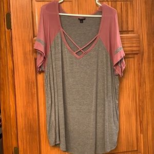 Dusty pink and gray tunic